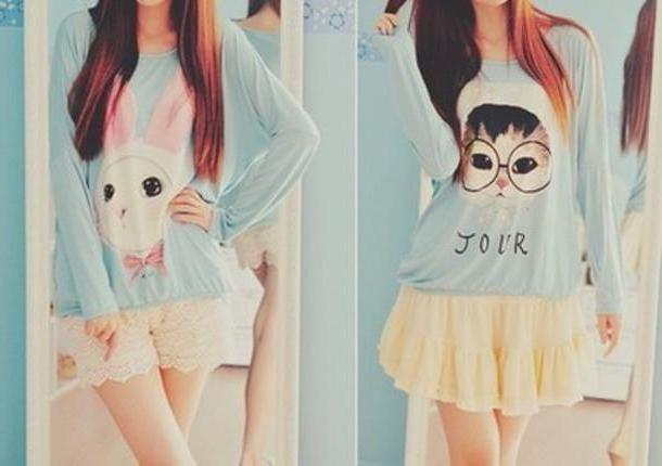 Skirt Beige Sweater Ulzzang Kawaii Vintage Korean Fashion Korean Style Lolita Asian Shorts Skirt T Shirt cover image