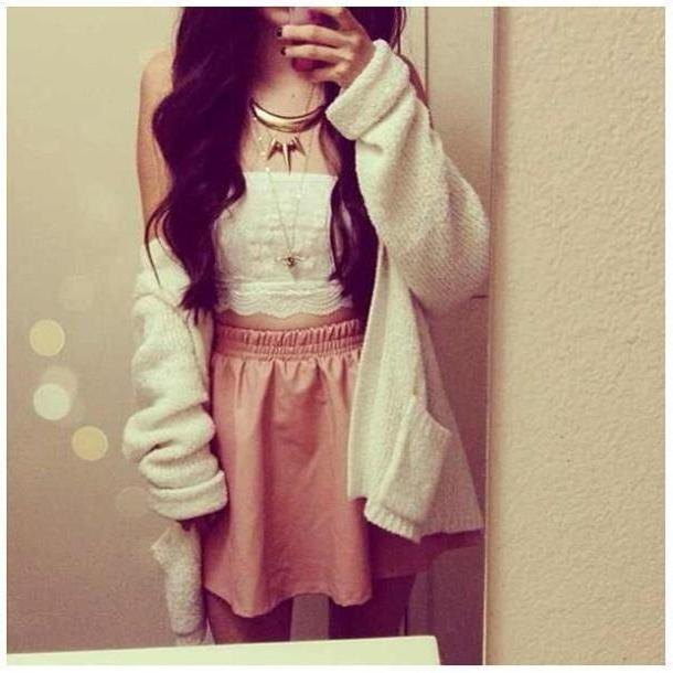 Skirt Beige Jacket Clothes Skirt Leather Crop  Bandeau Bustier White Sweater Necklace Gold Lace Blouse cover image