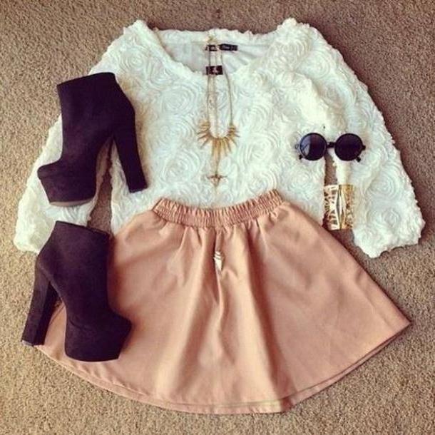 Skirt Beige Sweater Love Outfit Skirt Jumper Floral Black Heels Necklace Sunglasses Bracelet White Pink Neutral Gorgeous Shoes Blouse Shirt  D Flower Mesh cover image