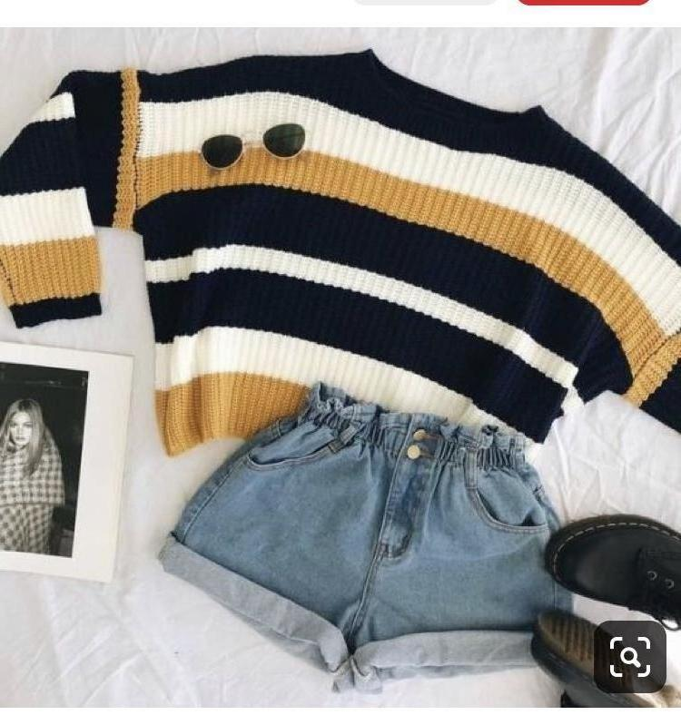 Sweater Stripes Sweater Yellow Navy White Cropped cover image