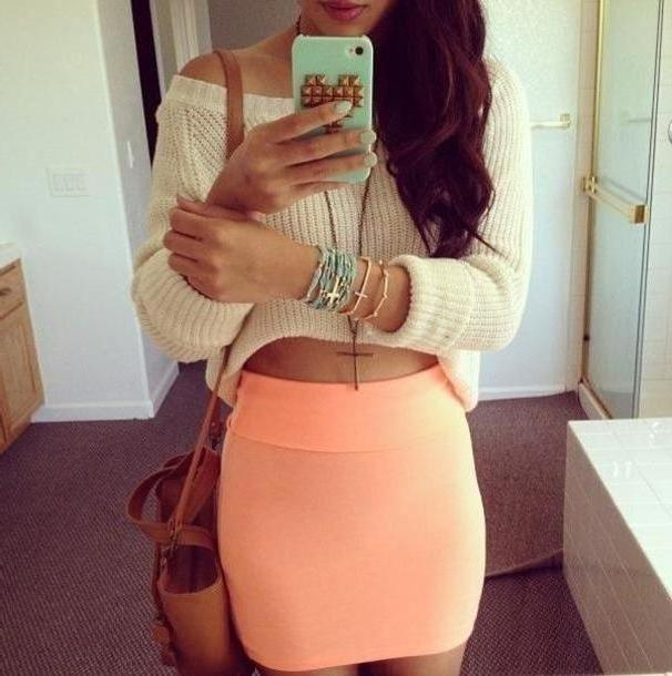 Skirt Beige Skirt Coral Cute Hipster Lovely Girly Girl Swag Baby Sweater Bag Jewels Peach cover image