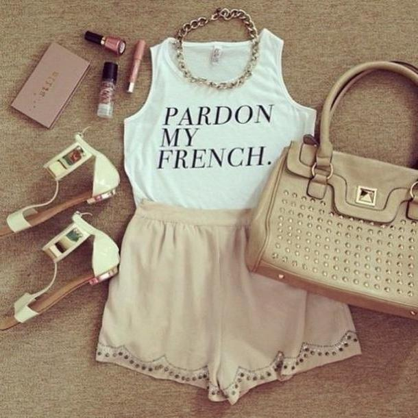 Skirt Beige Tank T Shirt French Bag Shorts Shoes White Sandals Shirt Makeup Clothes Sandals Metallic White Chic Make Lace Girly Soft Sorry Quote Quote Pardon Tshirt Crop Tops Jewels Classy Fas cover image