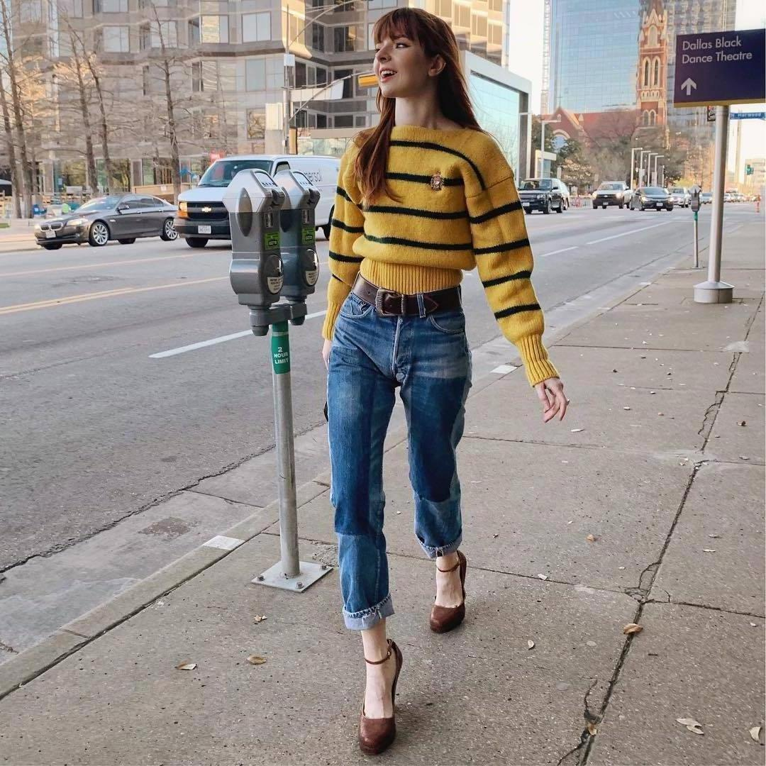 Sweater Stripes Sweater Yellow Sweater Striped Sweater Pumps Straight Jeans Belt High Waisted Jeans cover image