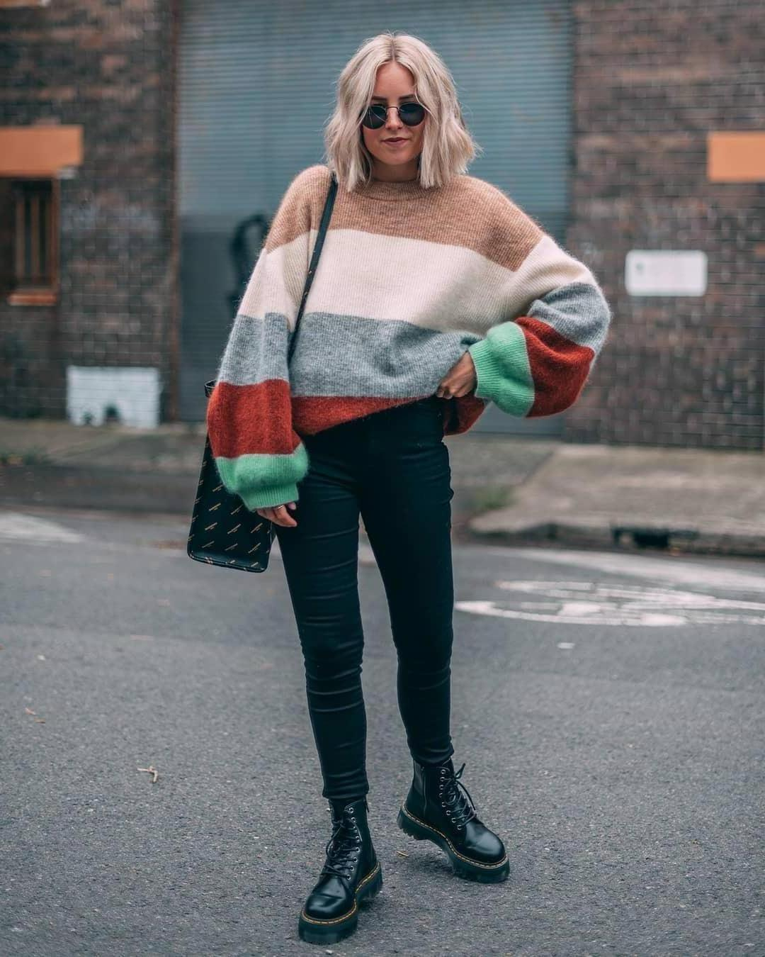 Sweater Stripes Sweater Striped Sweater Oversized Sweater Mohair Black Skinny Jeans Black Boots Drmartens Black Bag Balenciaga cover image