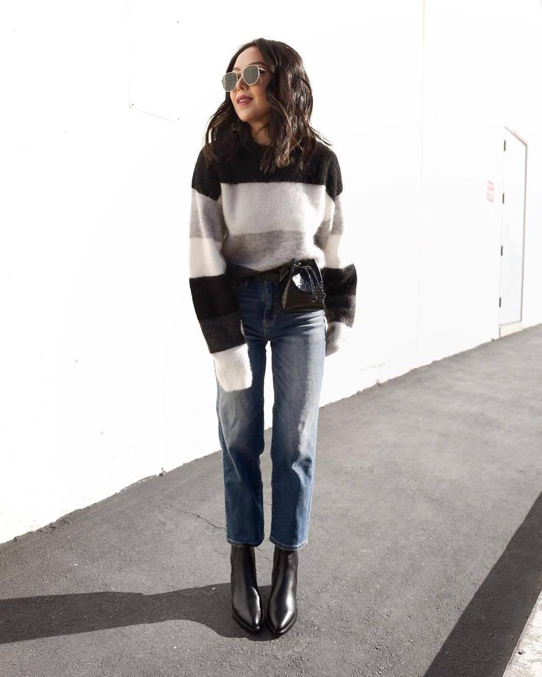 Sweater Stripes Sweater Striped Sweater H M Black Boots Straight Jeans High Waisted Jeans Black Belt cover image