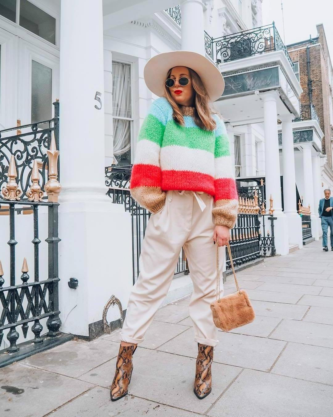 Sweater Stripes Sweater Striped Sweater Knitted Sweater Snake Print Ankle Boots Brown Boots Pleated High Waisted Pants Furry Bag Felt Hat cover image