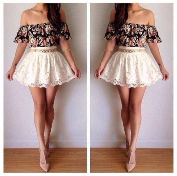 Skirt Beige Skirt Belt Tank Shirt Shoes Floral Dress Crop Tops  White cover image