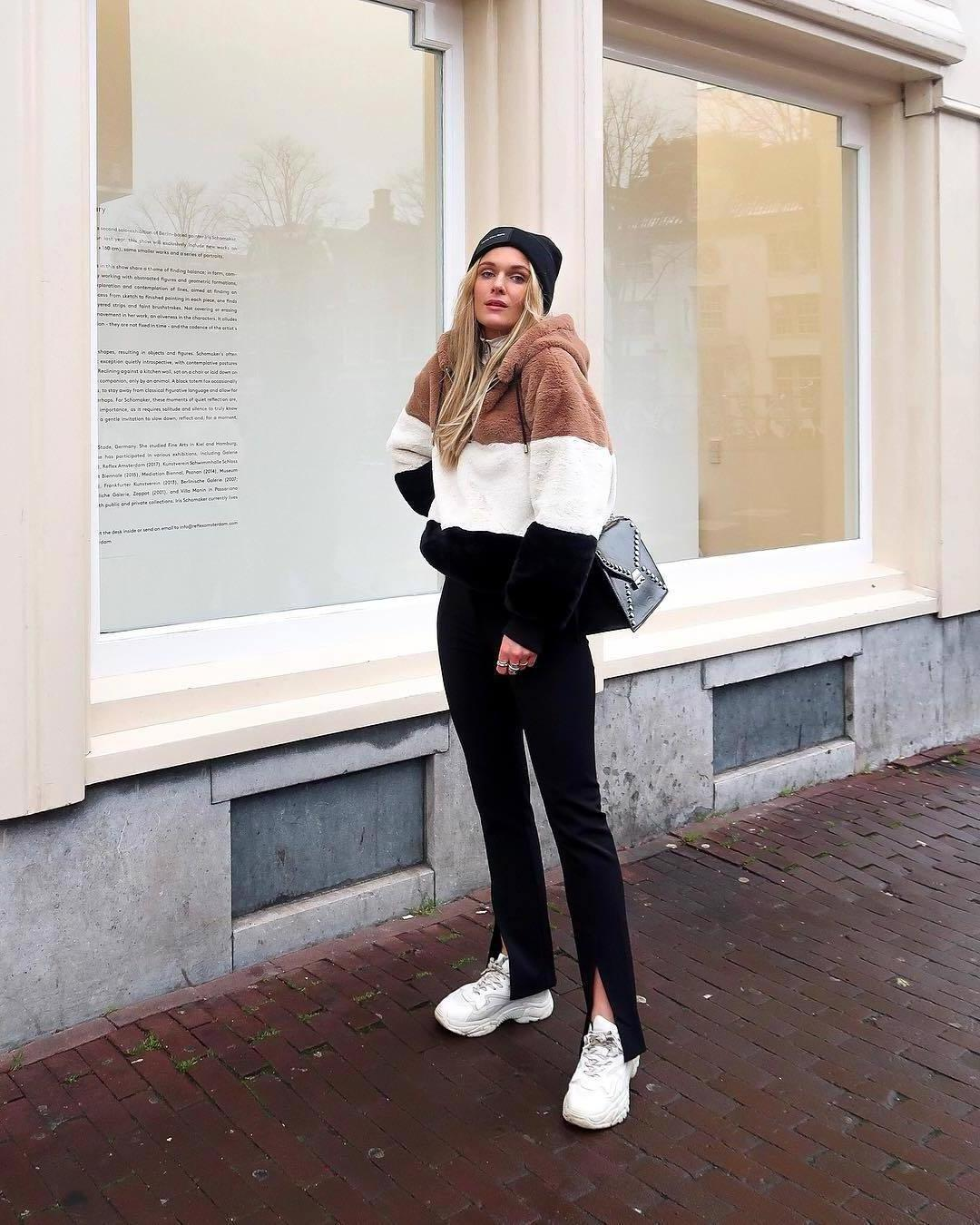 Sweater Stripes Sweater Hoodie Fau Fur Stripes White Sneakers Black Pants Slit Pants Black Bag Black Beanie cover image