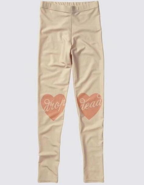 Pants Beige Pants Leggings White Hearts cover image