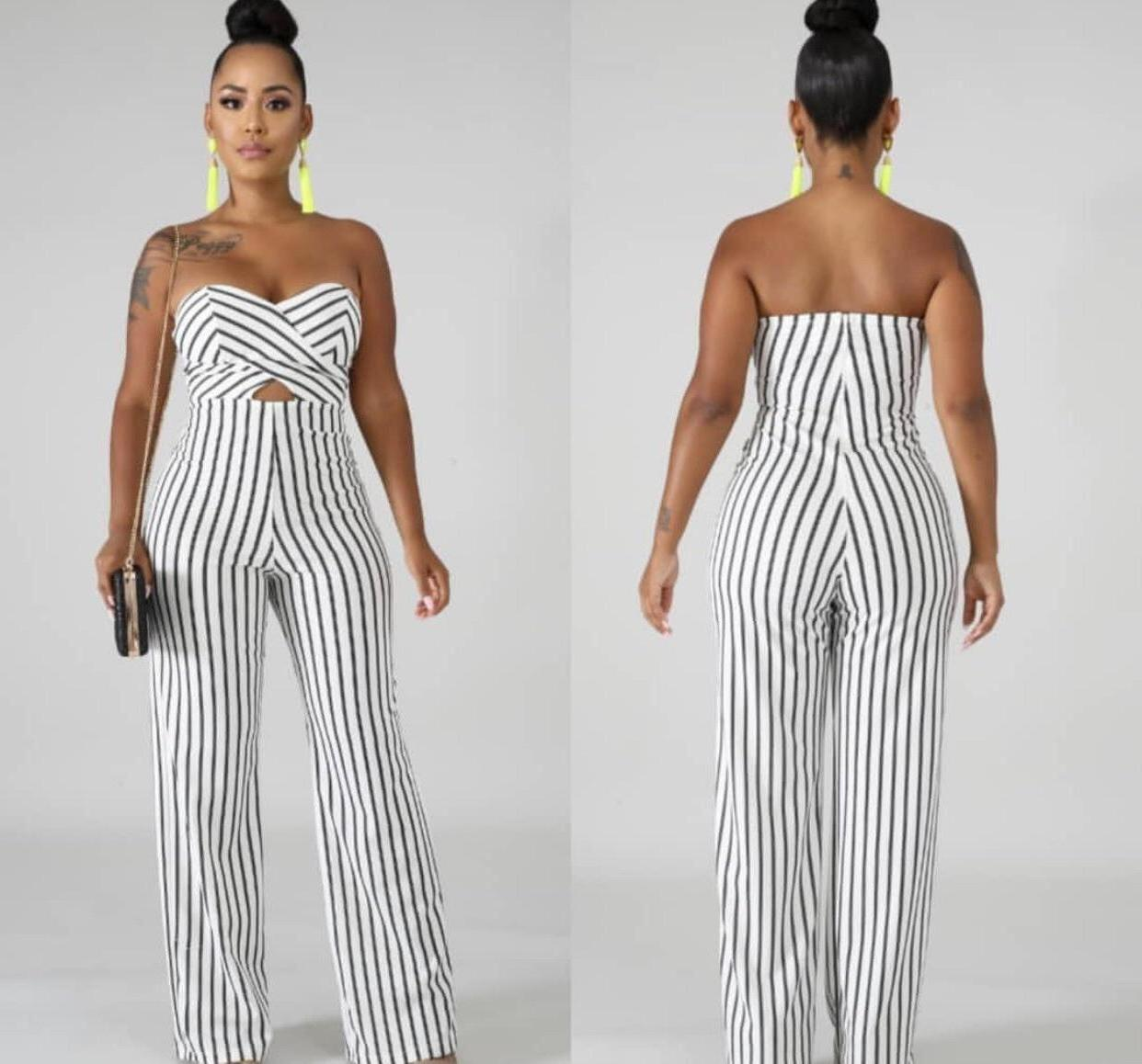 Jumpsuit Stripes Jumpsuit Romper Stripes Shoulder Trendy cover image