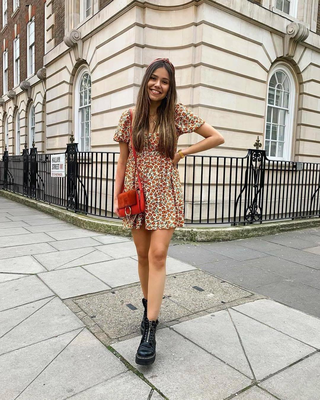 Dress Beige Dress Mini Dress Floral Dress Pull Bear Short Sleeve Dress Black Boots Ankle Boots Red Bag cover image