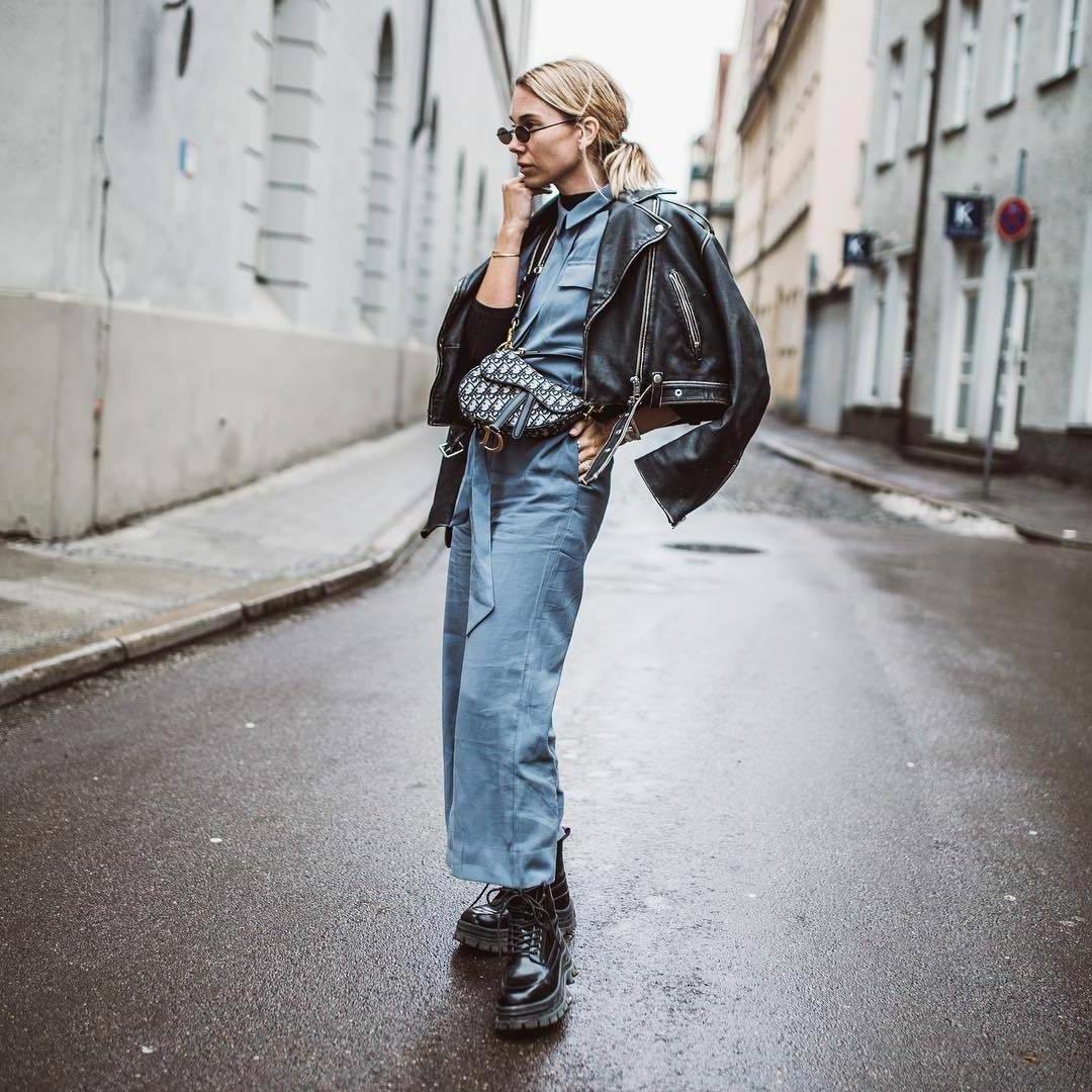 Jumpsuit Denim Jumpsuit Blue Jumpsuit Lace Boots Platform Boots Black Pants Dior Bag Black Leather Jacket H M cover image