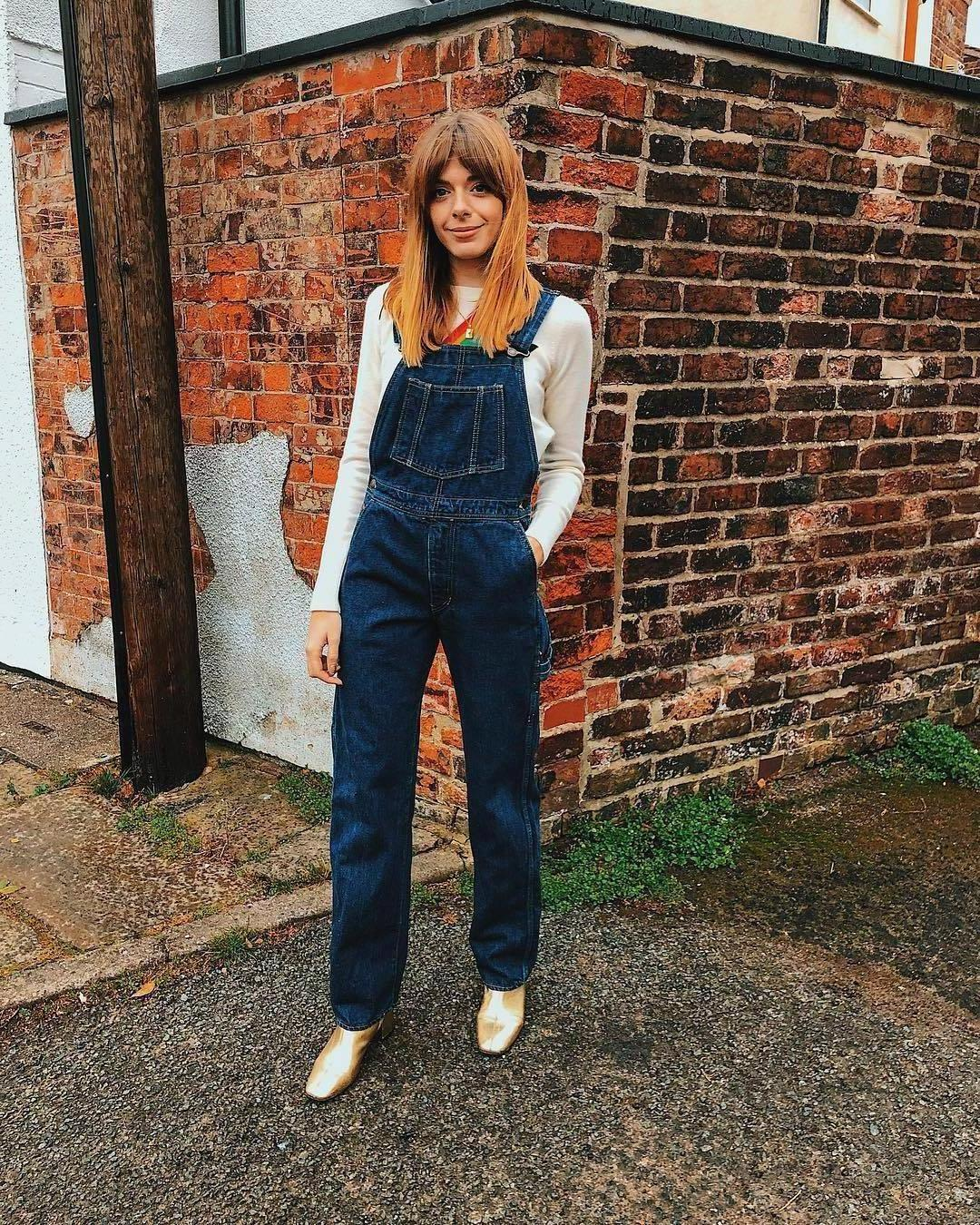 Jumpsuit Denim Jumpsuit Denim Jumpsuit Dungarees Gold Shoes White Long Sleeves Streetstyle cover image