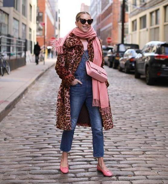 Jumpsuit Denim Jumpsuit Denim Jumpsuit Fau Fur Leopard Print Ballet Flats Chanel Bag Pink Bag Scarf cover image