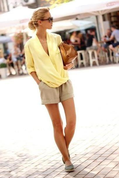 Shorts Beige Sirma Markova Blouse Shorts Bag Shoes Sunglasses Jewels Shirt Yellow cover image