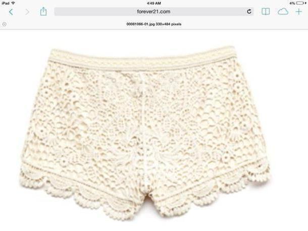 Shorts Beige Shorts Lace Ivory cover image
