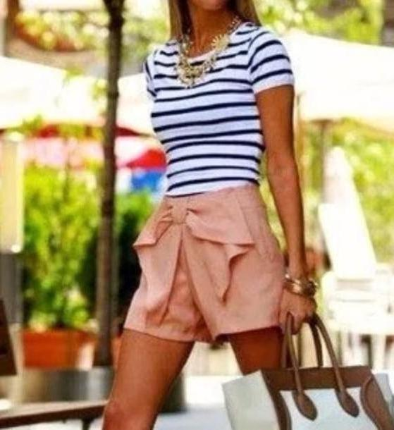 Shorts Beige Shorts Peach Striped Shirt Style Shirt cover image