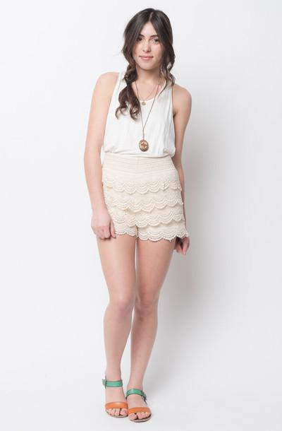 Shorts Beige Shorts Lace Shorts Laced Shorts Scallop Scalloped Shorts Scalloped Dress cover image