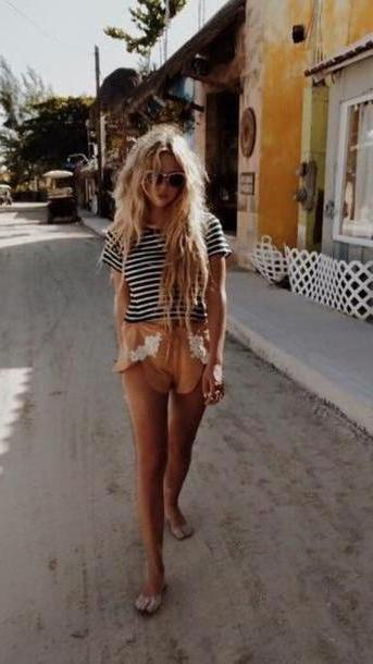 Shorts Beige Shorts Ashley Benson Summer Shorts  Stripes Striped T Shirt Dolphin Shorts Lace Shorts Peach Summer Outfits cover image