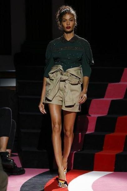 Shorts Beige Shorts Sweater Joan Smalls Model Runway Fashion Week      Miu Miu Paris Fashion Week      Beaded cover image