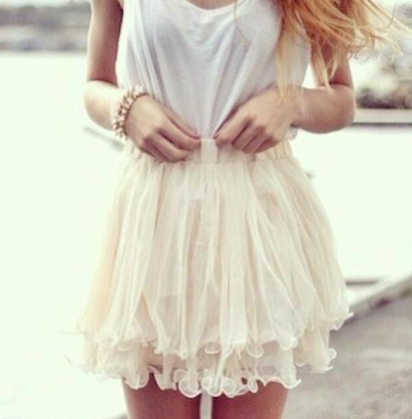 Skirt Beige Skirt White Cute Pretty cover image
