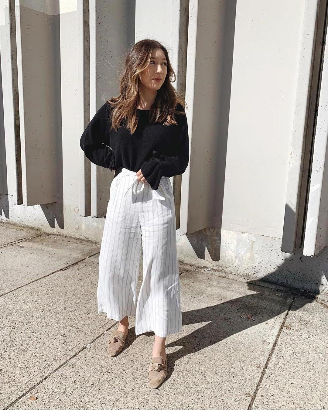 Jumpsuit Stripes Jumpsuit White Jumpsuit Stripes Mules Black Sweater Casual cover image