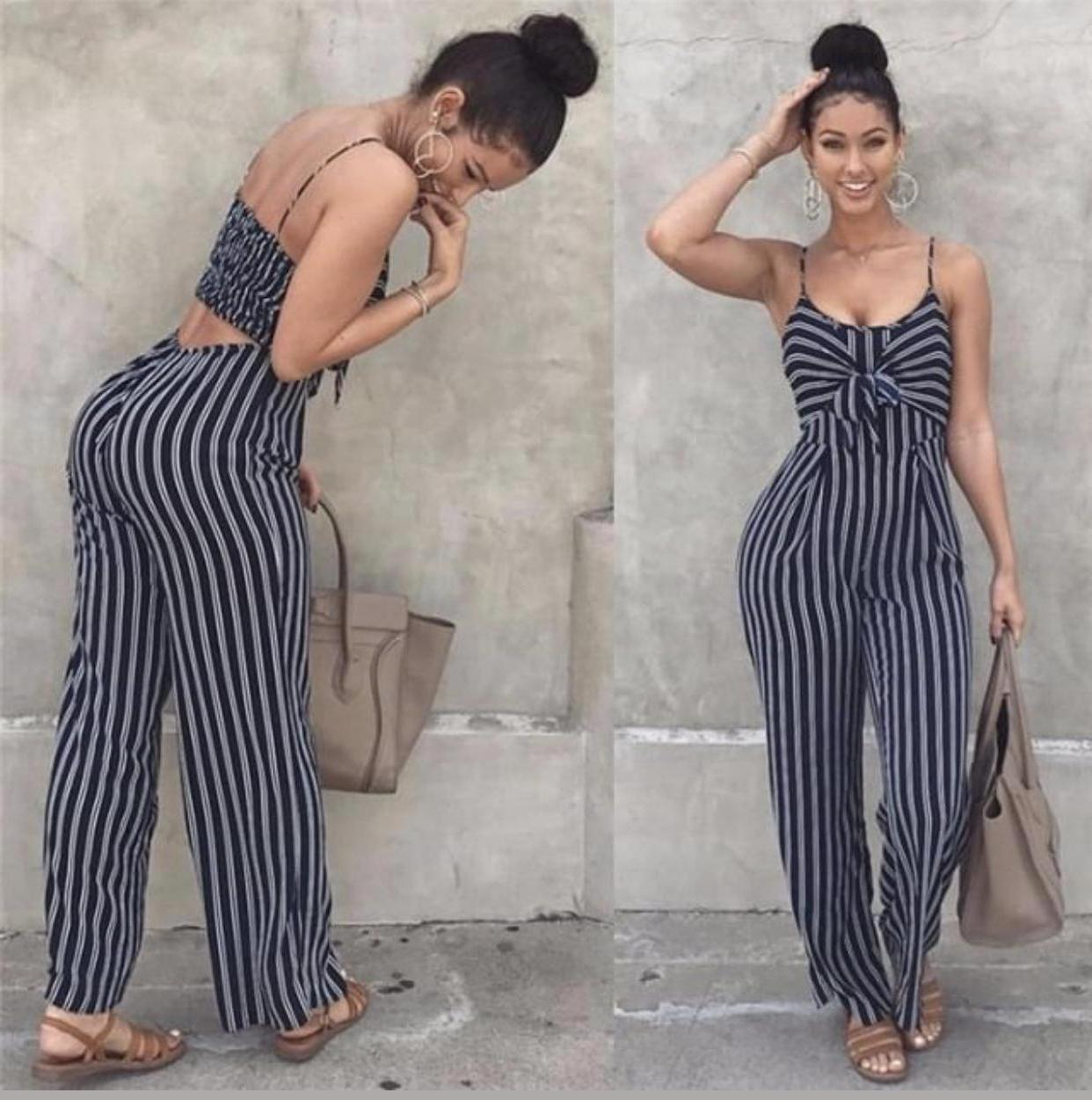 Jumpsuit Stripes Romper Jumpsuit Summer Cute Outfits cover image