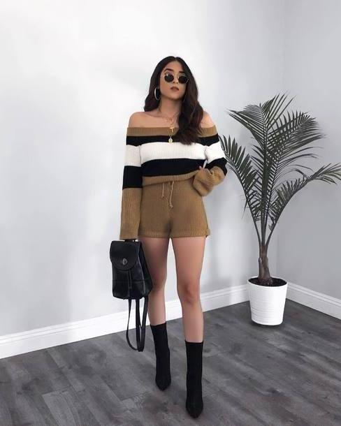 Romper Multicolor Romper Long Sleeve Romper Knitwear Stripes Shoulder Ankle Boots Black Boots Backpack Sunglasses Earrings cover image
