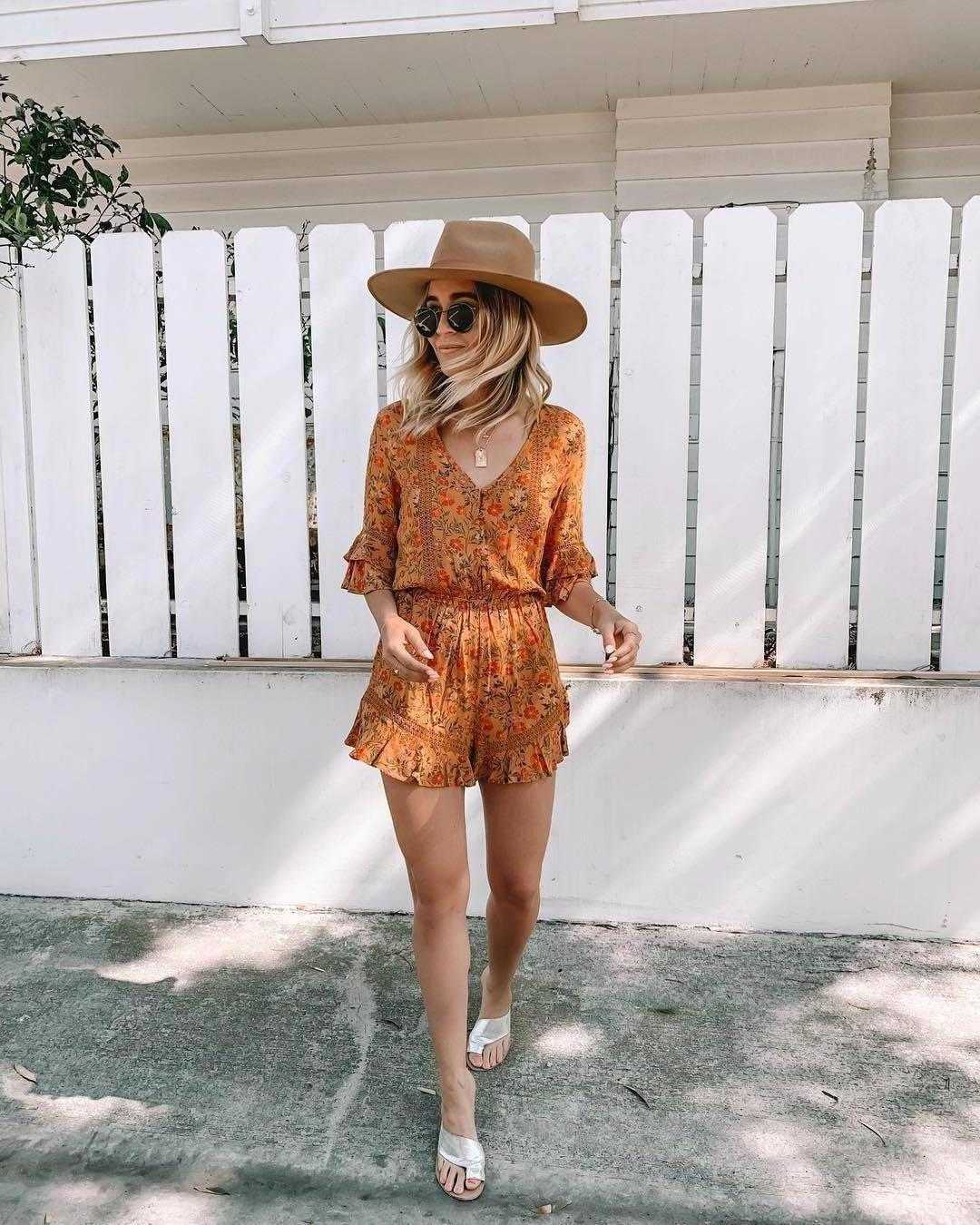 Romper Multicolor Romper Floral Sandals Summer Outfits Sunglasses Hat cover image