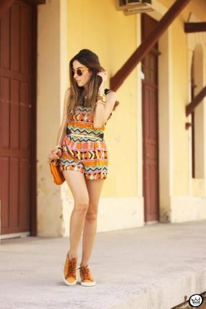 Romper Multi Fashion Coolture Blogger Sunglasses Romper Pattern Orange Sneakers cover image