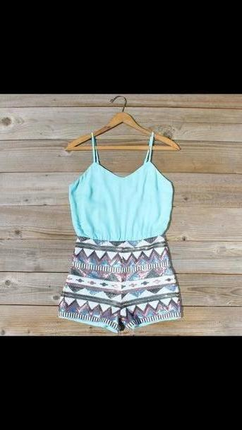 Romper Multi Dress Playsuit Summer Fun Straps Spaghetti Strap Pale Blue Stripes Shorts Romper Aztec cover image