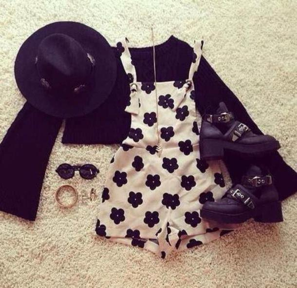 Romper Multi Dress Floral Black Hipster Hat Shoes Pants Blouse Romper Black White Overalls Overalls Dress cover image