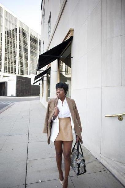 Skirt Beige Locks Trinkets Blogger Camel Mini Skirt Office Outfits Camel Coat Coat Jacket Blouse Skirt Shoes Bag cover image