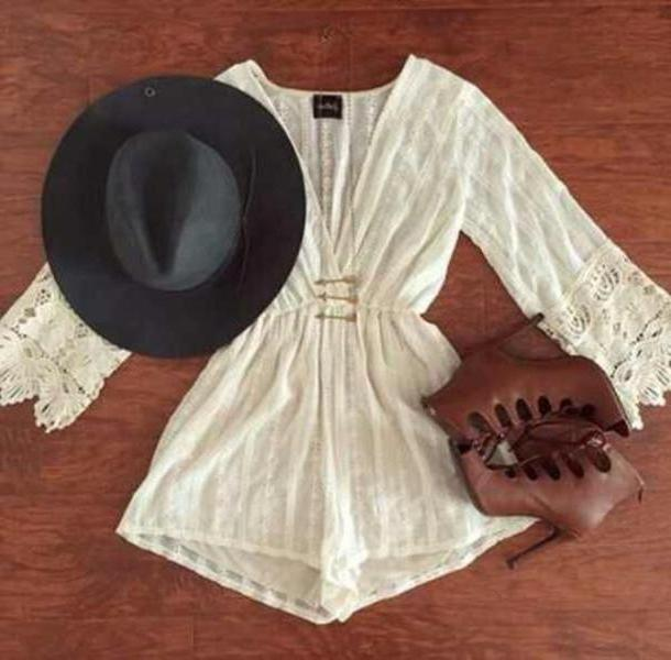 Romper White Romper Cream Romper Shoes Hat Dress Lace Romper Long Sleeves Floral Romper Beautiful Chic Boho Boho Chic Light Brown Heels Cute Fashion Sandals cover image