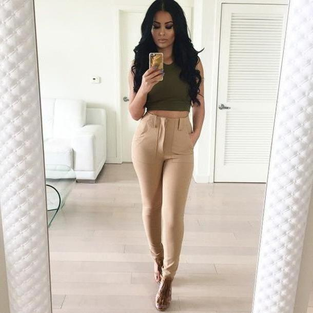 Pants Beige Sleeveless Pants Jeans Nude Pants Camel Pants Trousers High Waisted Beige Nude Skinny Skinny Pants Slimmed Dressy Casual Womens Linen Trousers Bottoms Cute Outfit Clothes Leggings cover image