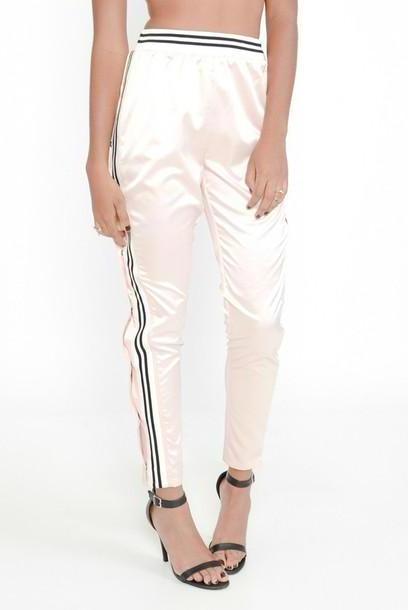 Pants Beige Pants Minty Jungle Silk Track Track Pants Sporty Pink Satin Blush cover image