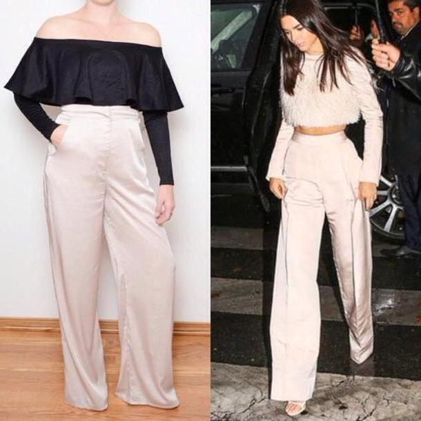 Pants Beige Pants Oh Love Wide Leg Pants High Waist Pants Kendall Jenner Nude Pants cover image
