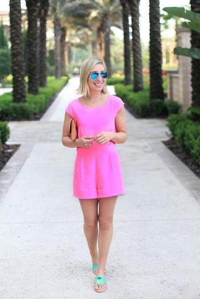 Romper Pink Lemon Stripes Blogger Romper Shoes Jewels Sunglasses Bag cover image