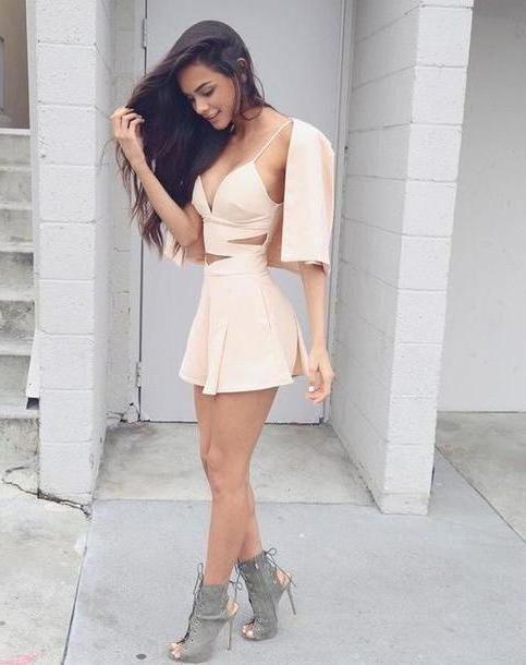 Romper Pink Dress Light Pink White Dress Sey Dress Party Dress Summer Dress Summer Skirt Fashion Lace Dress Bodycon Dress Bandage Dress Pink Dress Crop Tops Beige Creme Grey Cute Cute Dress P cover image