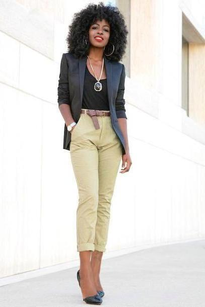 Pants Beige Blogger Jacket Tank Pants Shoes Blazer Black Blazer Beige Pants Black Statement Necklace Black Heels Black Girls Killin Gemstone Pendant cover image