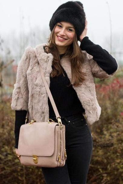 Sweater Beige Style Trouble Jeans Coat Shoes Sweater Bag Hat Black Fur Hat Fur Jacket Quarter Sleeves Beige Jacket Beige Bag Black Sweater Cropped Sweater Black Jeans cover image