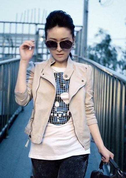 Jacket Neutrals Jacket Beige Leather Zipper Zip Short Coat Clothes Winter Glasses Korean Fashion Lady Jacket cover image