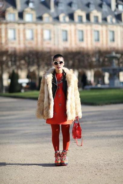 Jacket Neutrals Let S Flashy Blogger Tights Fau Fur Coat Red Dress Red Bag Coat Jacket Dress Bag Shoes Sunglasses Hat Beige Fluffy Coat Beige Fur Jacket cover image