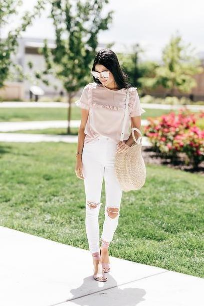 Lingerie Shoes Silver Pink Ruffle Denim Jeans White Jeans Ripped Jeans Sandals Flat Sandals Bag Round Tote Tote Bag Sunglasses Shoes Destroyed Skinny Jeans White Skinny Jeans Skinny Jeans Ripped Light cover image