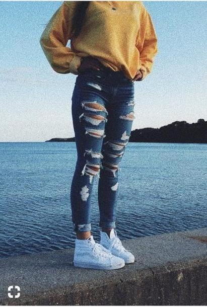 Jeans Denim Jeans Shirt Yellow Sweatshirt Ripped Jeans Jacket Ripped Blue American Eagle Jeans Skinny Jeans cover image