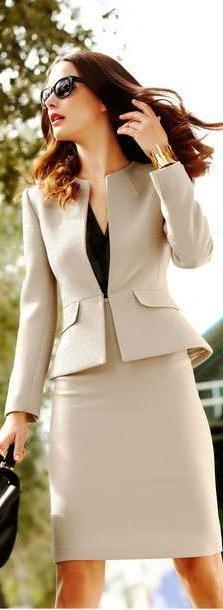 Skirt Beige Jacket Skirt Suit Work Outfit Working Girl Classy Dress cover image