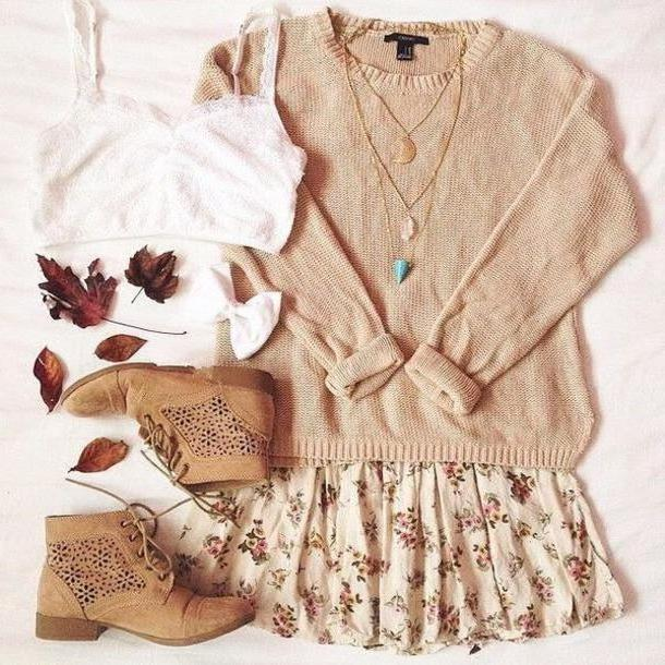 cc142cbbcd Skirt Beige Shoes Sweater Skirt Necklace Autumn Outfits Jewels Gemstone  Pendant Floral Skirt Fall Vintage Vintage