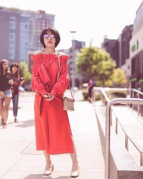 Orange Shoes Neutrals Shoes Sunglasses Black Sunglasses Handbag Beige Handbag Skirt Orange Skirt Bag cover image