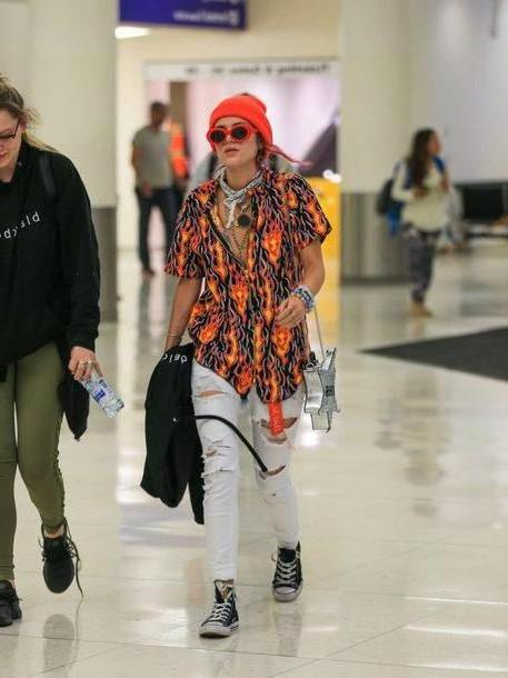 Orange Shoes Black Shoes Blouse Orange Beanie Bella Thorne Jeans Ripped Jeans cover image