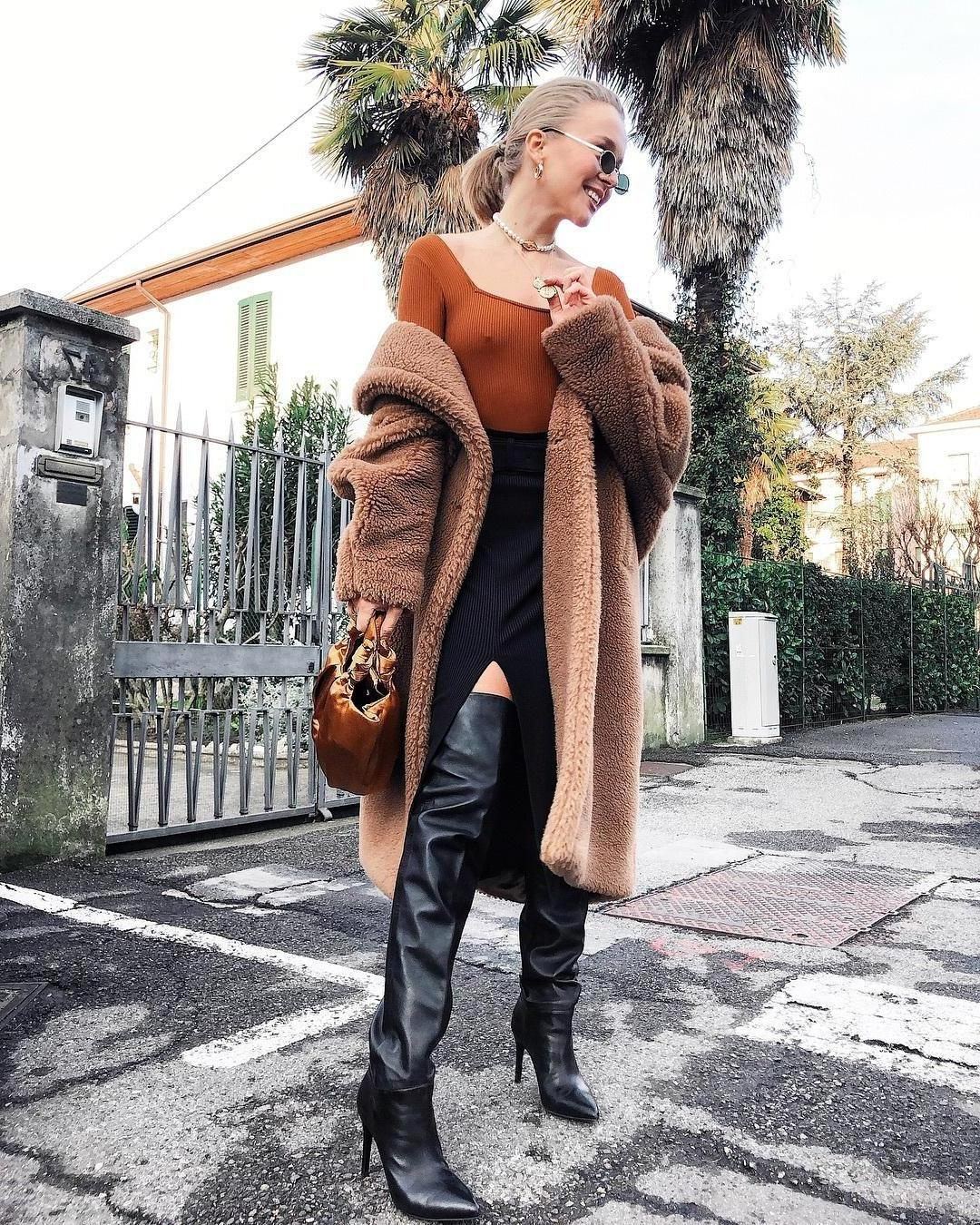 Orange Shoes Black Shoes Knee Boots Heel Boots Black Boots Teddy Bear Coat Ma Mara Oversized Coat Handbag Brown Bag Midi Skirt Black Skirt Slit Skirt  Underwear Orange Sheer Tight Bodysuit Nipples T cover image